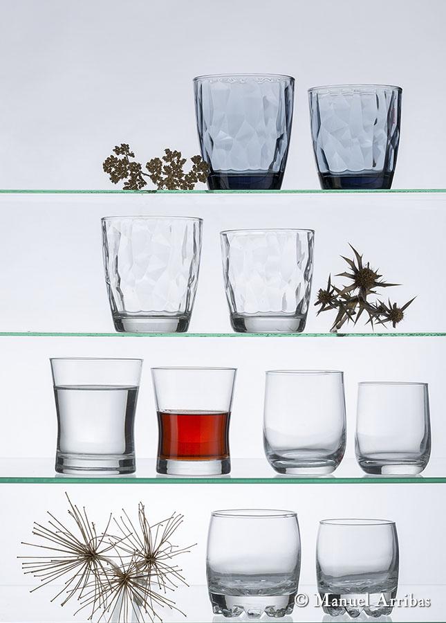 Vasos, menaje hogar. Fotografía de producto